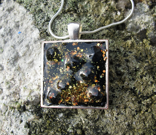 Black and Gold Glittery Galaxy Pendant, Necklace, Square