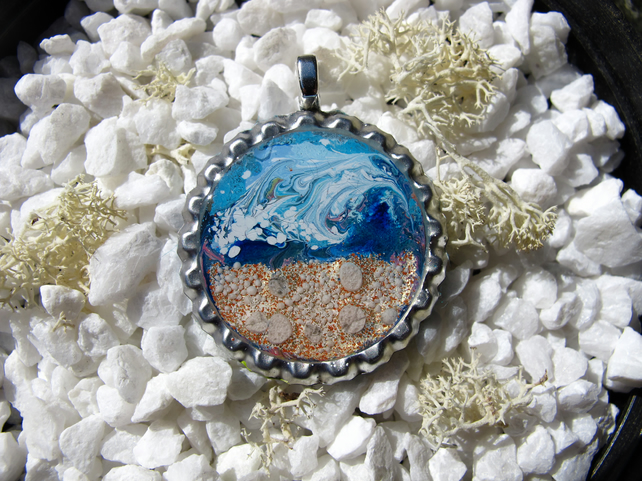 Seaside Scene in Bottle Cap, Miniature Art.
