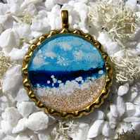 Seaside Scene in Bottle Cap, Charm or Pendant