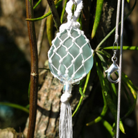 Pale Turquoise Beach Glass and White Macrame Pendant, Necklace, Charm