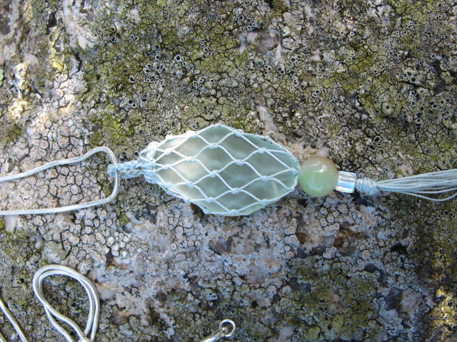 Duck Egg Blue Beach Glass Pendant with Vintage Crochet Cotton  Cover