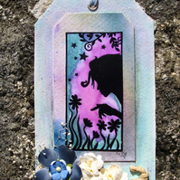 Shades of Blue Floral Tag (d)