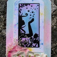 Silhouette Design Tag with Floral Arrangement, Pastel Rainbow, (e)