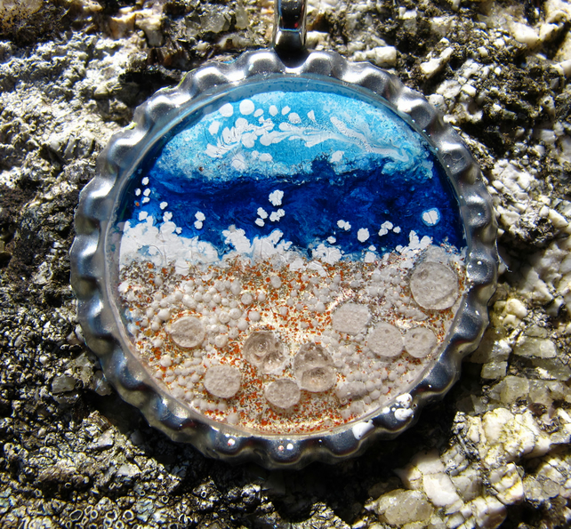 Seaside Scene in Bottle Cap