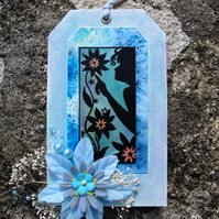 Decorative Tag, Silhouette Design with Floral Decoration, Blue (h)