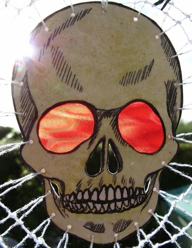 Halloween Skull and Spider Web Dreamcatcher