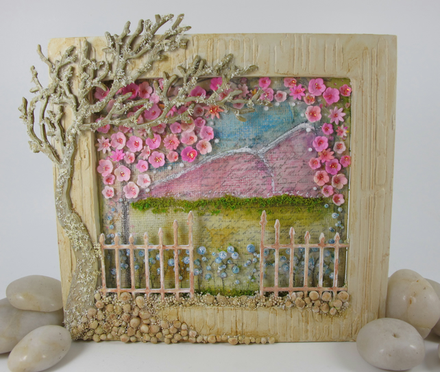 Scenic Cherry Blossom Canvas in Freestanding Frame