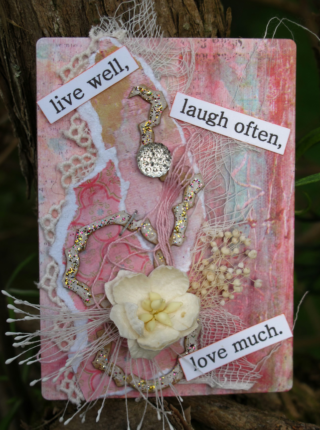 Live Well Mixed Media Pastel Colours ACEO