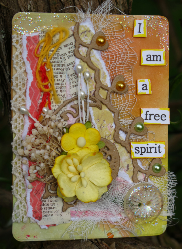 Free Spirit Floral Mixed Media ACEO