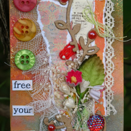 Free Your Mind, Floral Mixed Media ACEO