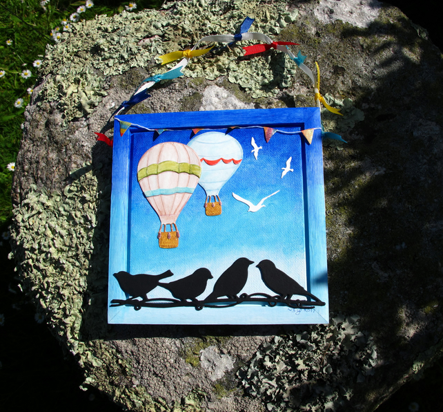 Hot Air Balloon and Birds Framed Canvas, Wallhanging