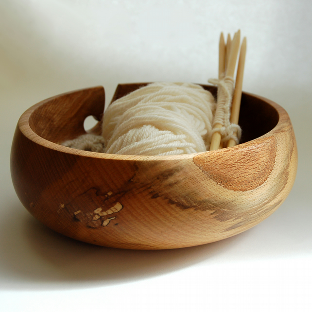 Spalted Beech Wood Yarn Bowl 196 x 72 mm
