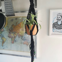74cm black cotton jersey macramé plant hanger, with green beads