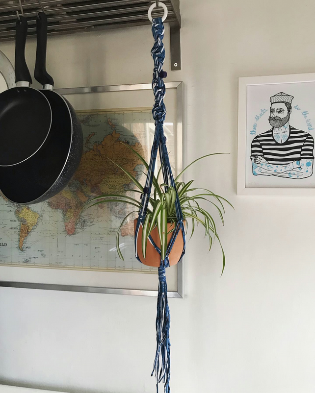 89cm blue, white and black cotton jersey macramé plant hanger