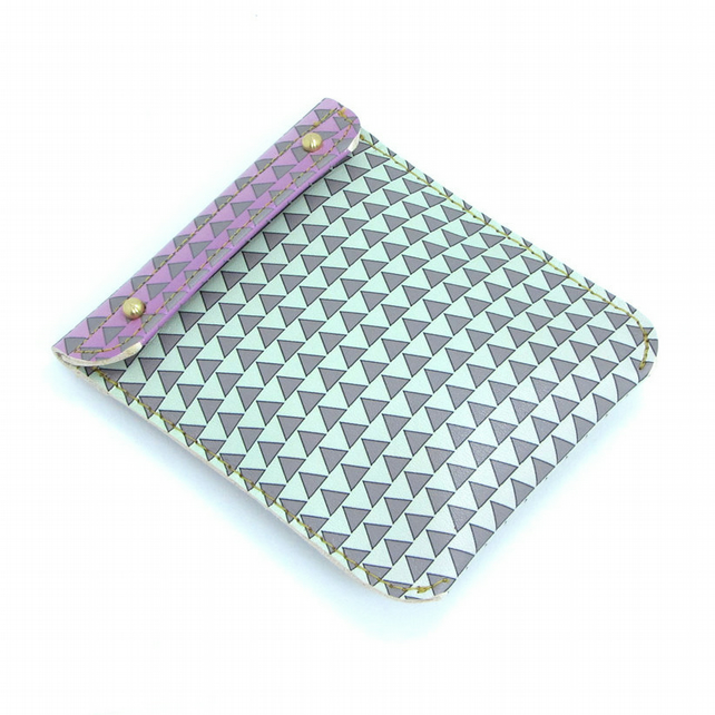 Leather Coin Purse and Card Holder - Geometric Triangles