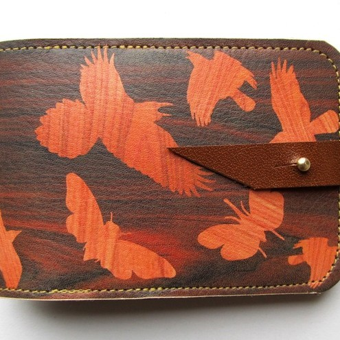 Leather card case Oyster card holder - Birds on wood