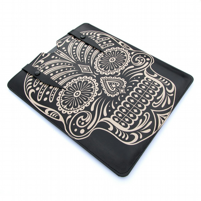 Leather iPad case - Black Sugar Skull