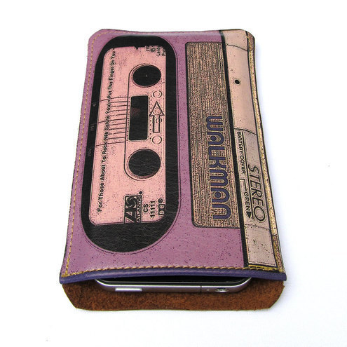 Leather ipod, itouch, iphone cover - Walkman lilac