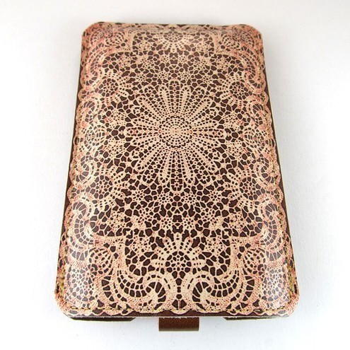 Leather iPhone (ALL) iTouch (ALL) case - Red blush white lace