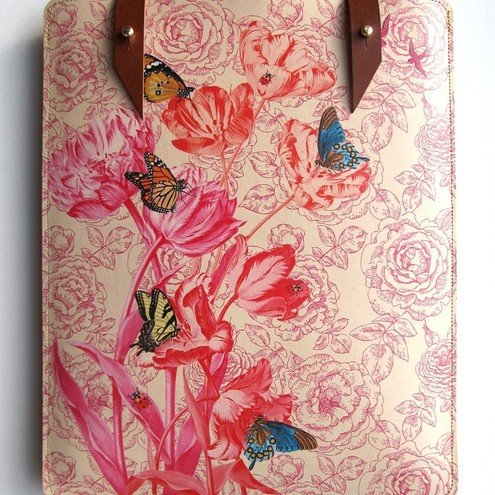 Leather iPad 1 & 2 case - Spring flowers