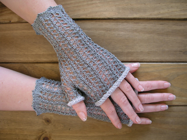 Hand knitted lace fingerless gloves wrist warmers - Folksy