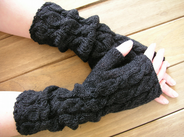 Long charcoal hand knitted fingerless gloves  wrist warmers
