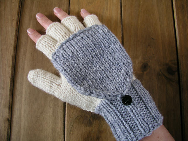 Hand knitted ladies gloves