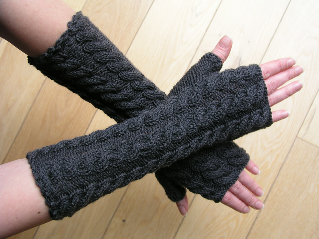RESERVED Charcoal long fingerless gloves wrist warmers