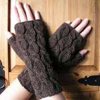 Brown Alpaca Wrist Warmers