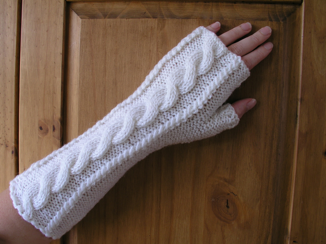Hand knitted long fingerless gloves wrist warmers