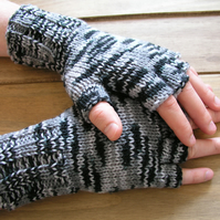 Hand knitted fingerless gloves