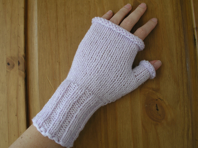 Lilac hand knitted fingerless gloves  wrist warmers