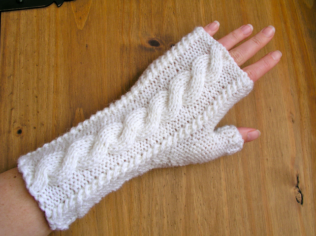 White fingerless gloves wrist warmers