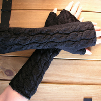 Long black fingerless gloves wrist warmers