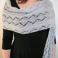 Lace shawl scarf light grey