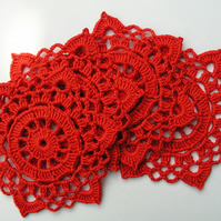 Red crochet doilies set of 4