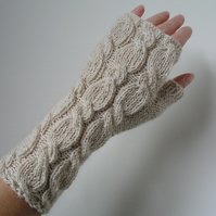 Alpaca Wrist Warmers Fingerless Gloves Ivory