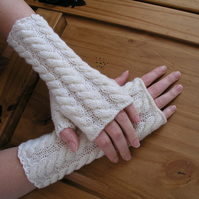 Fingerless gloves wrist warmers cream