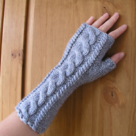 Aran Fingerless Gloves Wrist Warmers