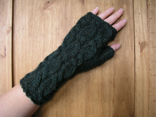 Alpaca Fingerless Gloves Bottle Green