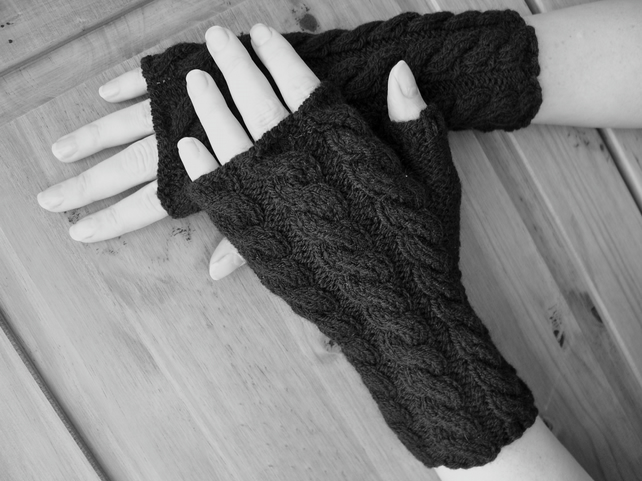 Hand knitted fingerless gloves wrist warmers