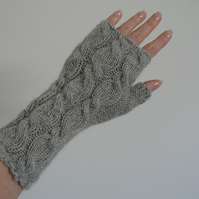 Fingerless Gloves Grey Alpaca