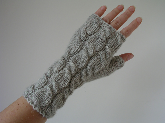 Alpaca Wrist Warmers Fingerless Gloves Grey