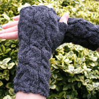 Alpaca Wrist Warmers Fingerless Gloves  Dark Grey