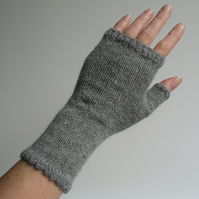 Grey Alpaca Wrist Warmers