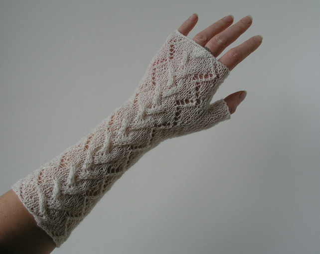 Lace long fingerless gloves cream