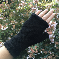 Merino Wool Wrist Warmers Black