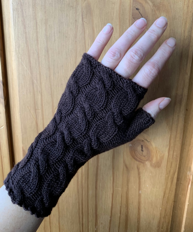 wrist warmers merino wool brown