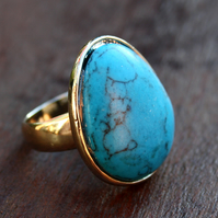 Turquoise blue stone ring (silver)