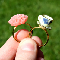 Teacup ring & peach flower ring set of 2!